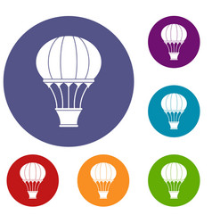 Hot air balloon with basket icons set vector