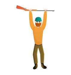 Hunter rifle up icon cartoon style vector