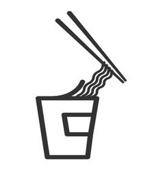 instant noodles with chopsticks line art food vector image