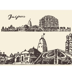 Jaipur city vintage hand drawn sketch vector