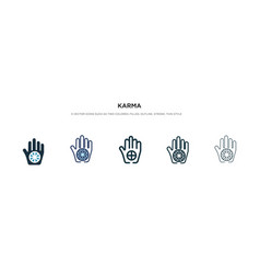 Karma icon in different style two colored and vector