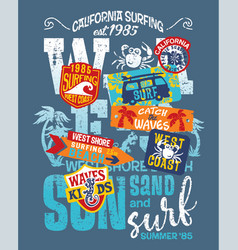Kid surfing team west coast california vector