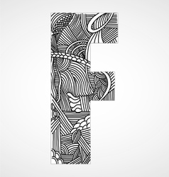 Letter F from doodle alphabet vector