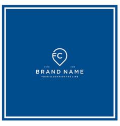 Letter fc pin logo design vector