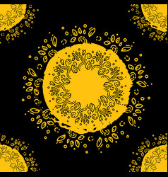 mandala doodle leaves floral pattern circled vector image