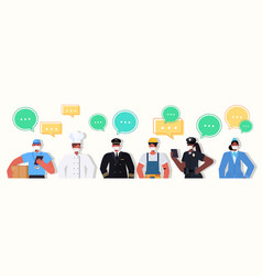 Mix race people different occupations standing vector