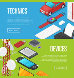 Modern technics and computer devices set vector