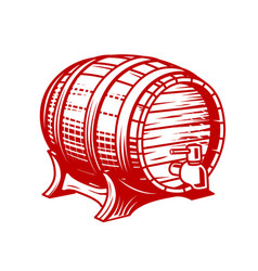 old wooden wine or beer barrel with faucet in vector image