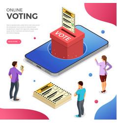 Online internet voting isometric concept vector