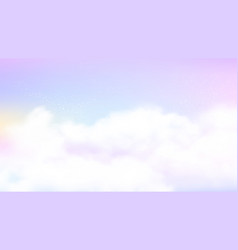 Pastel sky background white clouds on rainbow vector