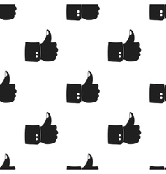 Patriotic thumb up icon in black style isolated on vector image