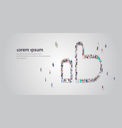 people crowd gathering in thumb up shape social vector image