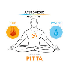 Pitta dosha or mesomorph - ayurvedic body type vector