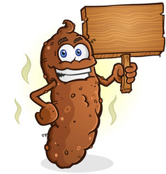 poop cartoon character holding a blank wooden sign vector image