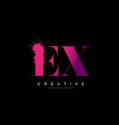 Purple pink ex e x letter logo design with ink vector