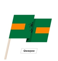 Qwaqwa Ribbon Waving Flag Isolated on White vector