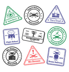Remote aircraft stamps collection vector