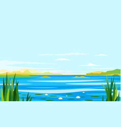 River landscape with lily and cane vector