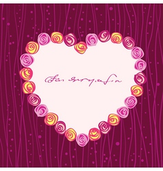 roses heart frame vector image vector image
