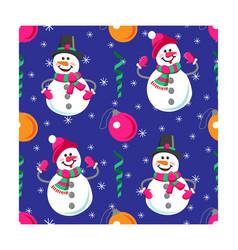 Seamless pattern winter holidays snowman vector