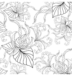 Seamless texture with ornate flowers and leaf vector
