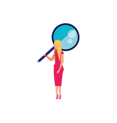 search magnifying glass with young woman vector image