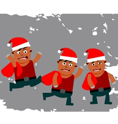Set of funny little Santa Claus vector image