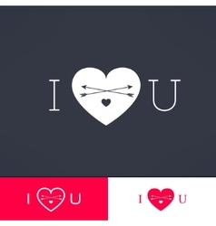 Set of i love you hipster dark design with vector image
