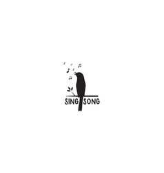 Silhouette bird sing with musical note logo vector