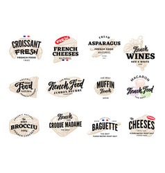 Sketch french food logos set vector