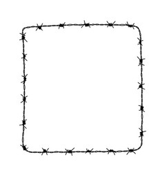 Square frame from barbed wire silhouette vector