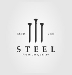 Steel nail isolated logo template design vector