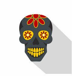 Sugar skull flowers on the skull icon flat style vector