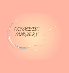 surgical needle and thread on a background of skin vector image