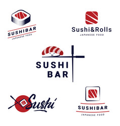 sushi bar logos templates set collection vector image