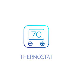 Thermostat linear icon on white vector