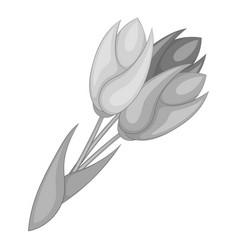 Tulips icon monochrome vector