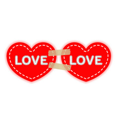 two red hearts on a paper adhesive velcro tapes vector image
