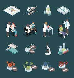 Vaccination isometric icons set vector
