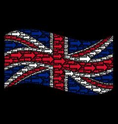 Waving british flag pattern of right arrow items vector