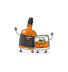 Whiskey glass with ice cubes bottle flat vector