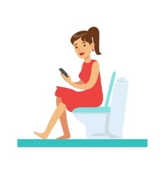 Woman with gadget in toilet part of people in the vector