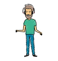 young man with earphones avatar character vector image