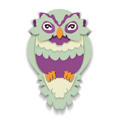 beauty owl in paper style isolated vector image vector image