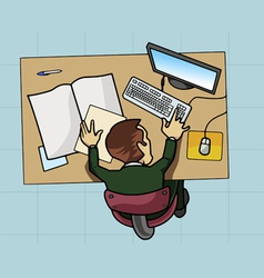 employee working at his computer vector image