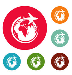 plane on earth icons circle set vector image vector image