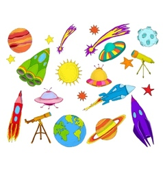 Space objects sketch set colored vector image vector image