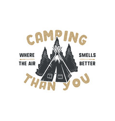 vintage hand drawn camping badge and emblem vector image vector image