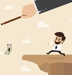 Businessman chasing money trap to the edge of clif vector image vector image
