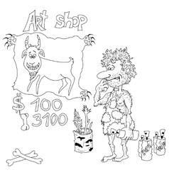 Cartoon prehistoric artist contours vector image